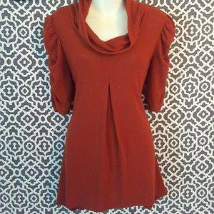 Dressbarn Orange Cowl Neck Half Sleeve Blouse XL